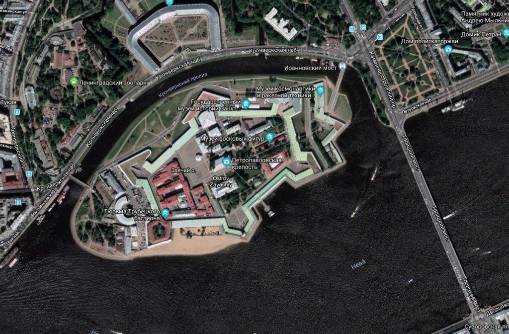 Фото Петропавловской крепости со спутника