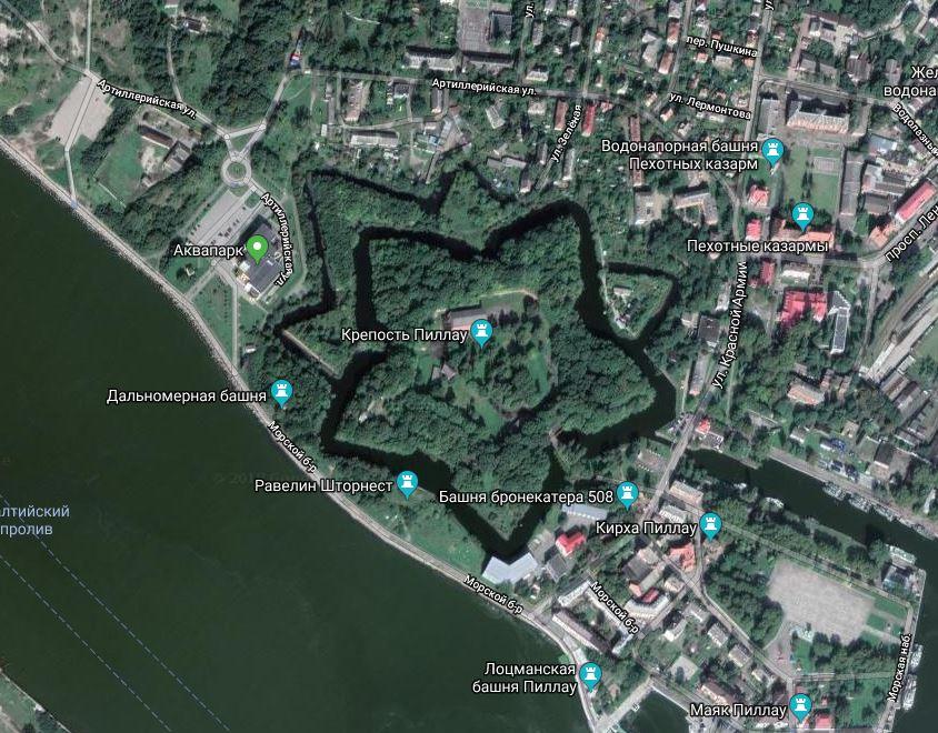 Фото форта Пиллау со спутника