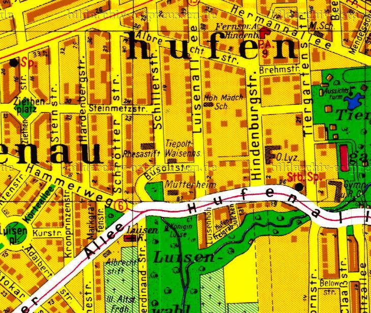 Карта района Хуфен в Калининграде