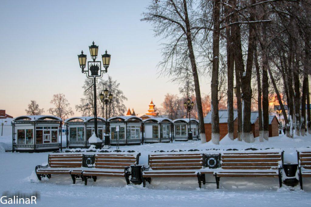 Тобольский кремле зимой на закат