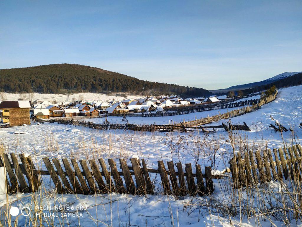 Панорама села Тюлюк зимой