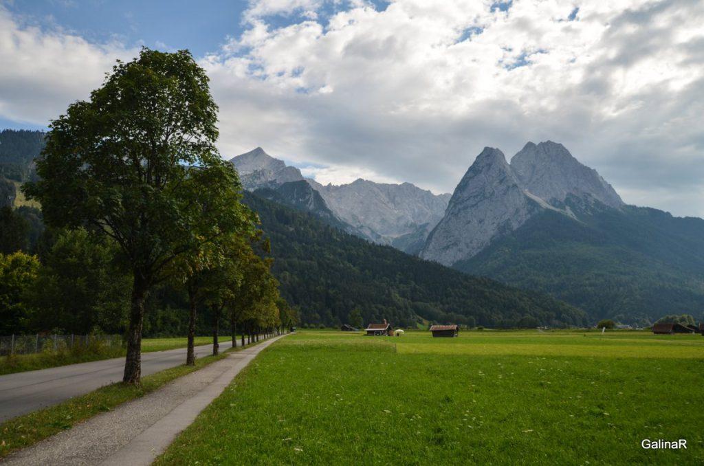 Баварские Альпы из Гармиш Партенкирхен